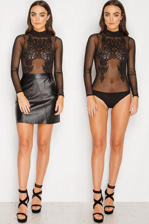 Melissa Black Beaded Sheer Bodysuit