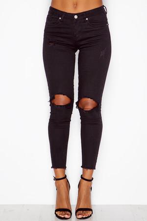 Mia Black High Waisted Ripped Knee Jeans