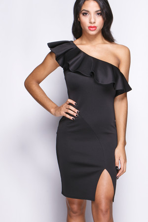 Michaela Black Frill Split Bodycon Dress