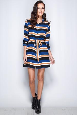 Sarah Black & Navy Stripe Shirt Dress