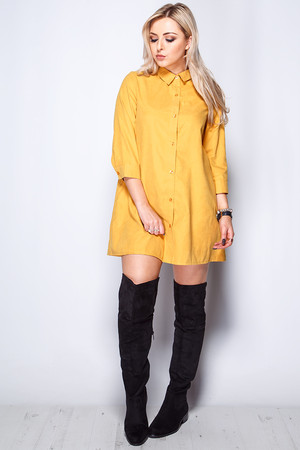 Sofia Mustard Button Front Shirt Dress