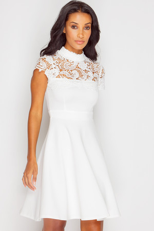 Terry White Crochet Skater Dress