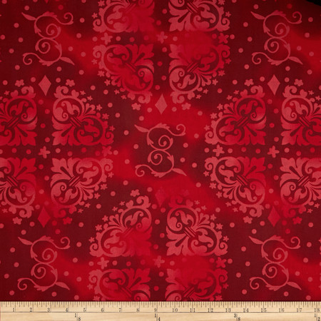 108'' Quilt Backing Tonal Medallion Red Fabric