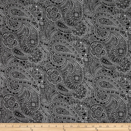 108'' Wide Quilt Back Chelsea Dot Paisley Black/White Fabric By The Yard
