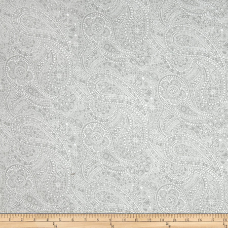 108'' Wide Quilt Back Chelsea Dot Paisley Light Grey Fabric By The Yard