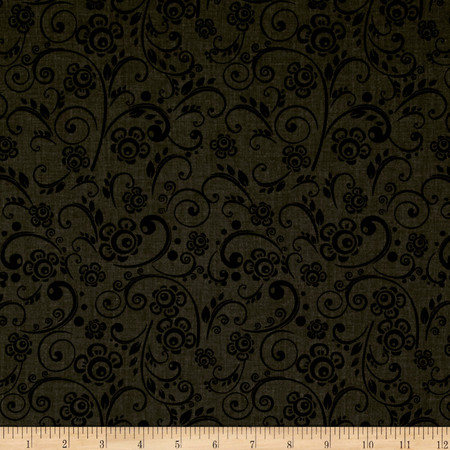 108'' Wide Quilt Back Floral Swirl Charcoal Fabric