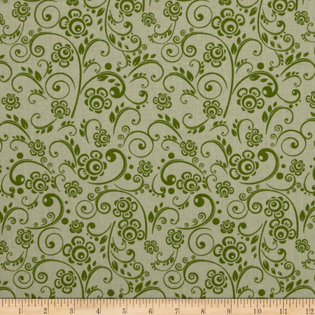 108'' Wide Quilt Back Floral Swirl Green Fabric
