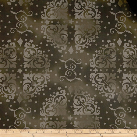 108'' Wide Quilt Backing Medallion Tonal Dark Brown Fabric