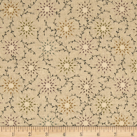 108'' Wide Quilt Backing Prairie Vine Tan Fabric By The Yard