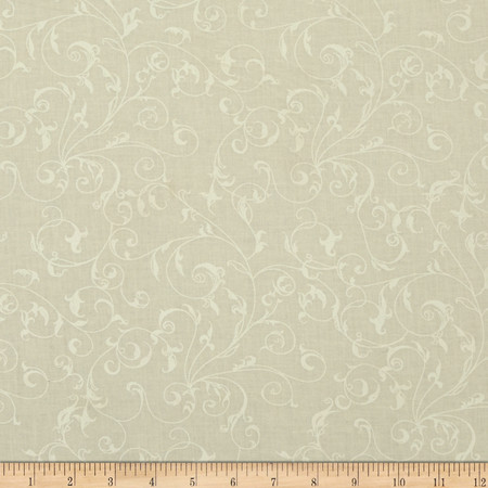 110'' Wide Quilt Backing Filigree Cream White Fabric By The Yard