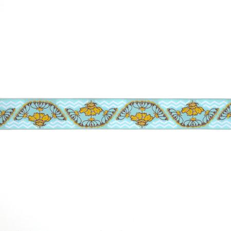 1-1/2'' Anna Maria Horner Yarrow Flower Ribbon Gold/Light Blue