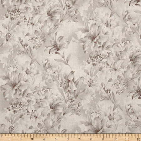 108'' Wide Day Lily Quilt Backing Floral Taupe Fabric By The Yard