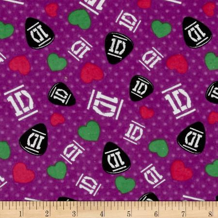 1D Guitar Picks Dots Light Purple Fabric By The Yard
