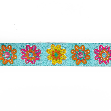 1 1/2''Sue Spargo Flowers on Turquoise