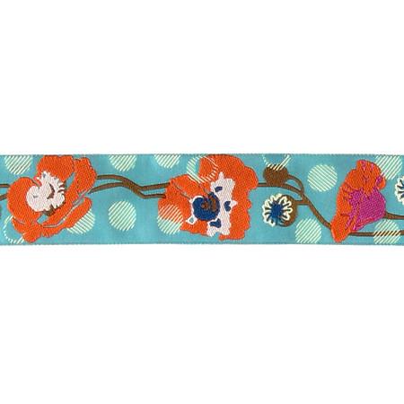 1 1/2'' Anna Maria Horner Raindrops on Poppies Orange/Turquoise