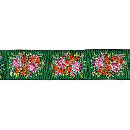 1 1/2'' Anna Maria Horner Twill Bouquet Evergreen