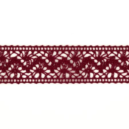 1 1/2'' Crochet Lace Ribbon Burgundy