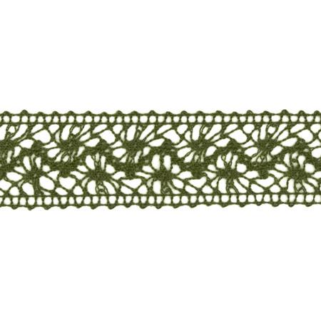 1 1/2'' Crochet Lace Ribbon Dark Olive