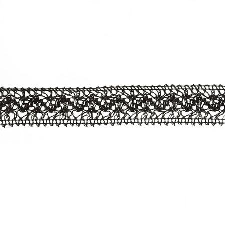 1 1/2'' Crochet Lace Trim Black