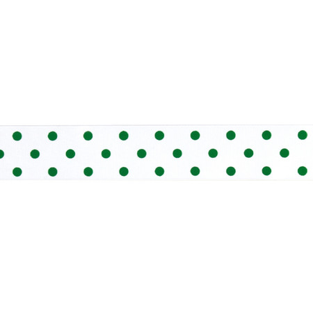1 1/2'' Grosgrain Rev Dot Ribbon Emerald
