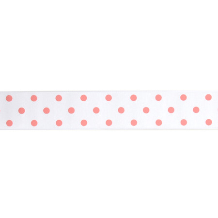1 1/2'' Grosgrain Rev Dot Ribbon Pink