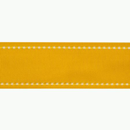 1 1/2'' Grosgrain Ribbon Saddle Stitch Yellow/White