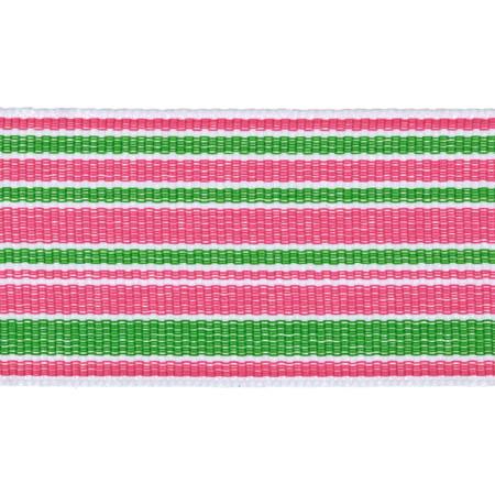 1 1/2'' Grosgrain Stripes Pink/Green/White