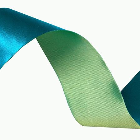 1 1/2'' Iridescent Satin Ribbon Turquoise/Celery