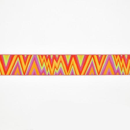 1 1/2'' Kaffe Fasset Flame Stitch Ribbon Orange/Pink
