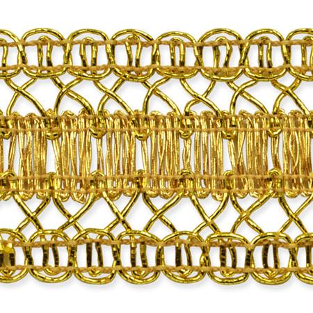 1 1/2'' Kaylee Metallic Braid Trim Roll Gold