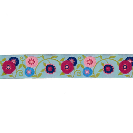 1 1/2'' Laura Foster Nicholson Suzani Flower Ribbon Light Blue