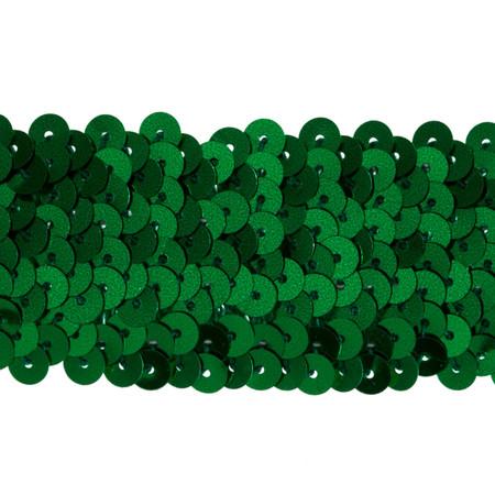 1 1/2'' Metallic Stretch Sequin Trim Green