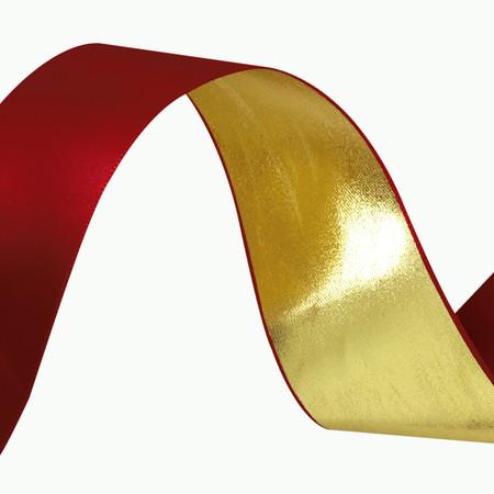1 1/2'' Reversible Satin Ribbon Metallic Gold/Red