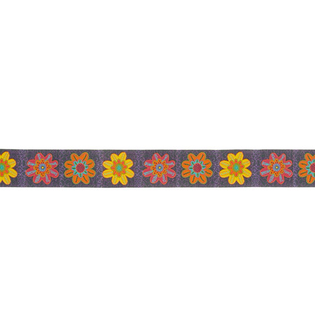 1 1/2'' Sue Spargo Flowers Ribbon Gray