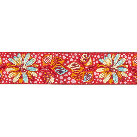 1 1/2'' Tula Pink Strawberry Sprout Ribbon Dark Pink