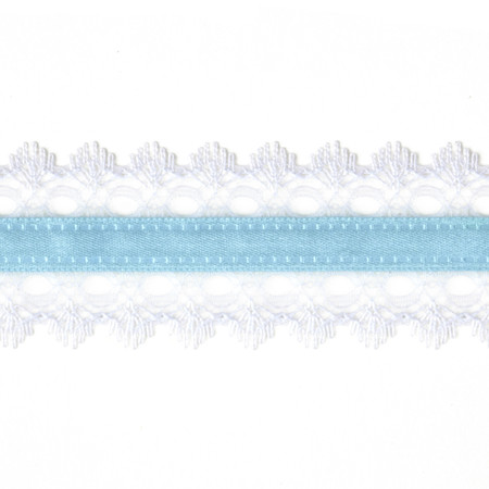 1 1/2'' White Lace Satin Center Ribbon Light Blue