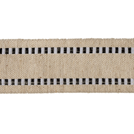 1 1/2'' Wired Natural Burlap Stripe Edge Ribbon Black/White