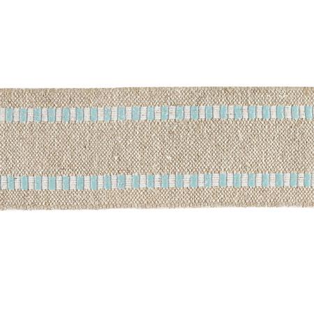 1 1/2'' Wired Natural Burlap Stripe Edge Ribbon Light Blue/White