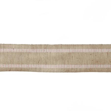 1 1/2'' Wired Natural Burlap Stripe Edge Ribbon Pink/White