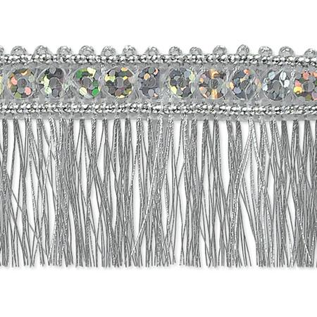 1 1/4'' Ester Sequin Metallic Fringe Trim Roll Silver