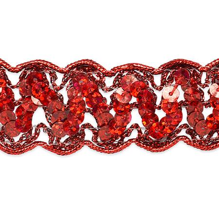 1 1/4'' Nikki Sequin Metallic Braid Trim Roll Red