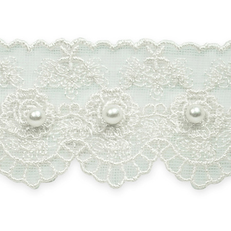1 5/8'' Vintage Roses with Pearl Lace Trim White