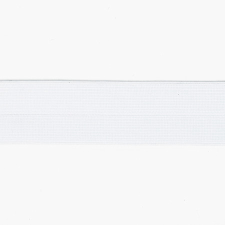 1'' Fold-Over Elastic White