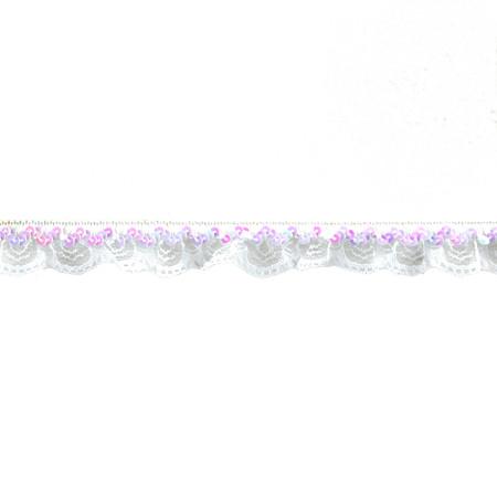 1'' Stretch Iridescent Sequin And Scallop Ruffle Trim White Aurora Borealis