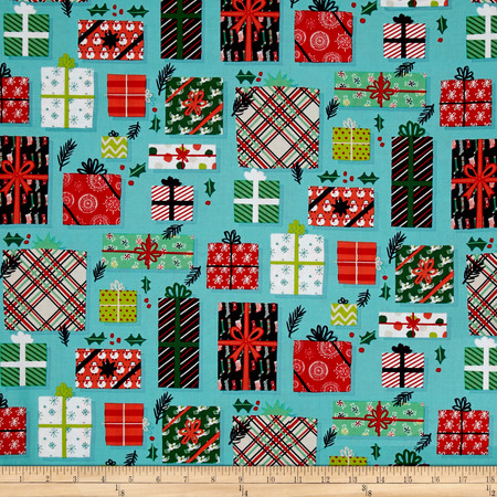 25 Days of Christmas Gifts Packages Light Teal  Fabric By The Yard