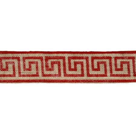 2 3/8'' Burlap Trim Greek Key Red