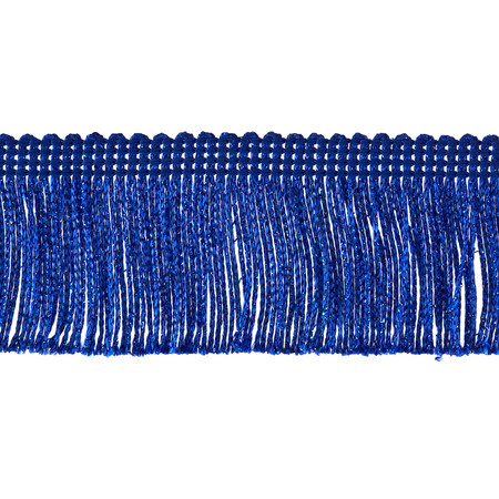 2'' Metallic Chainette Fringe Trim Royal Blue Fabric By The Yard