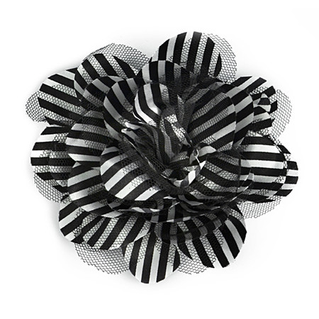 3-3/4'' Skinny Stripe Fabric And Tulle Brooch And Hairclip Black/White