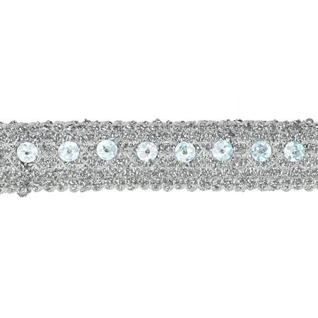 3/4'' Adriana Metallic Sequin Braid Trim Roll Silver