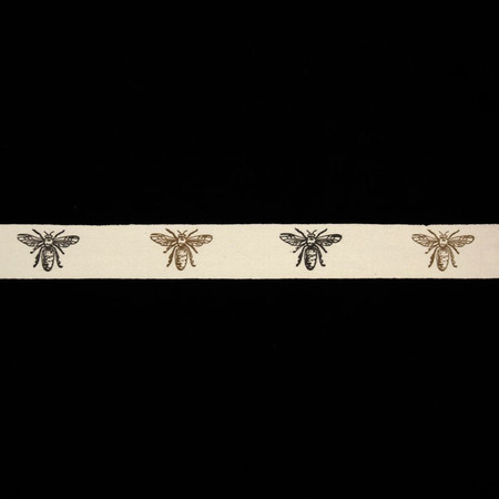 3/4'' Woven Ribbon Bees Ivory